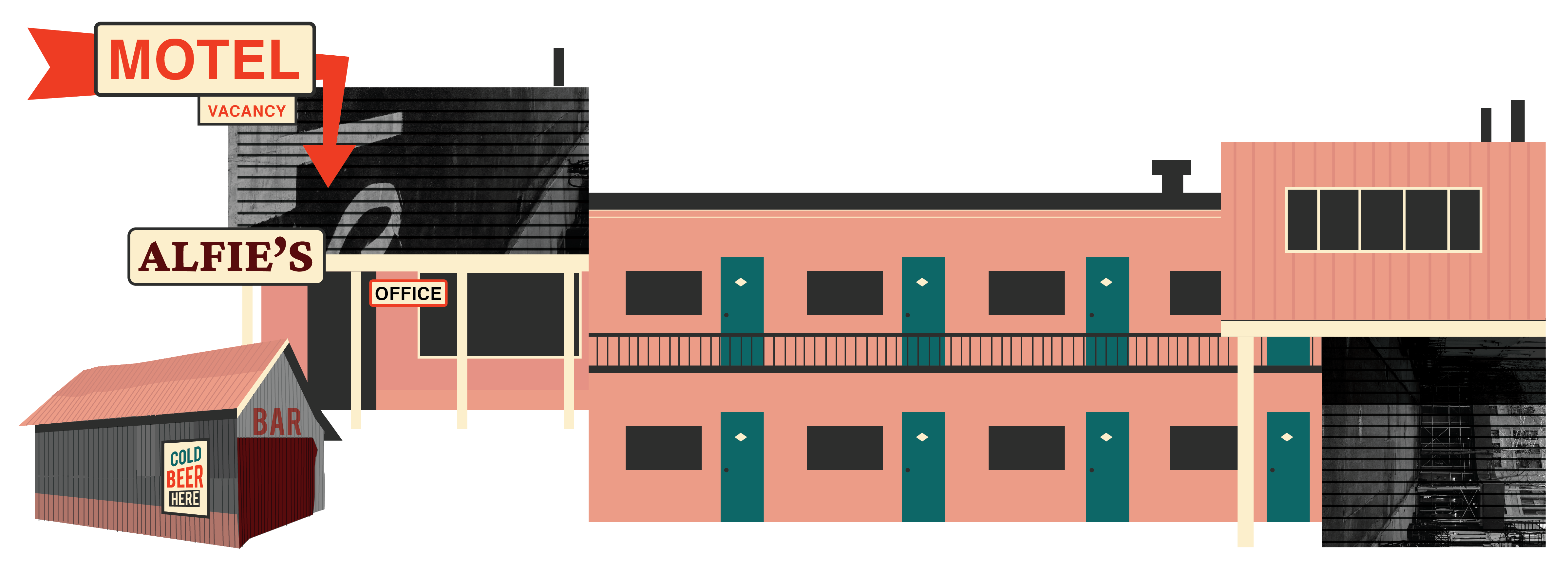 Alfie's and Shady Pines Central City Book Illustrations Buildings