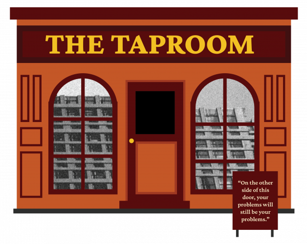 The Taproom Central City Books Illustrations Buildings